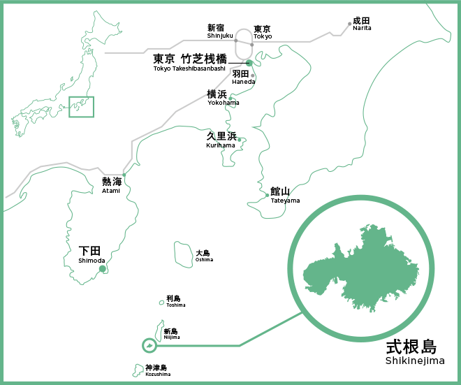 式根島までの地図