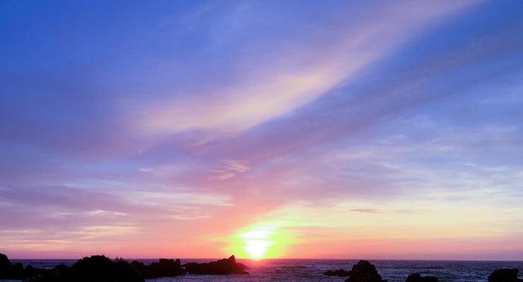 大浦海水浴場の夕日