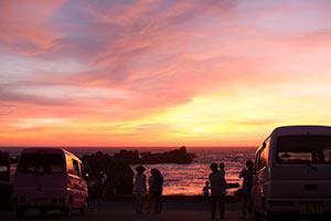 大浦海水浴場の夕焼け