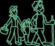 ハイキング家族のイラスト